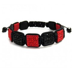 Red And Black Rhinestone Macramé Square Bead Rope Bracelet 11.00ct