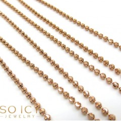 14k Rose Gold Diamond Cut Skinny Bead Chain 1.8mm 26-32