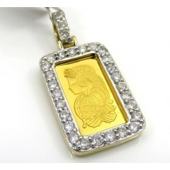 Suisse 24k Gold Mini Bar Diamond Pendant 0.70ct