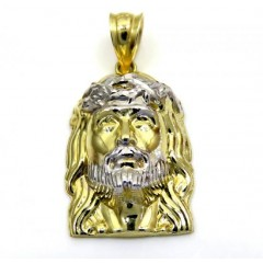 14k Yellow Gold Two Tone 3D Mini Jesus Head Pendant