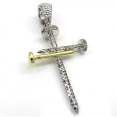 10k Yellow And White Gold Diamond Nail Cross 0.43ct