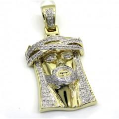 10k Yellow Gold Medium Diamond Jesus Piece Pendant 0.90ct