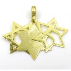 14k Yellow Gold Three In One Jewish Star Of David Pendant