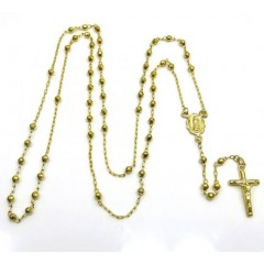 14k Yellow Gold Disco Bead Super Skinny Rosary Chain 26 Inch 2.8mm