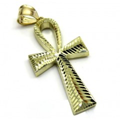 10k Yellow Gold Large Diamond Cut Fancy Ankh Cross