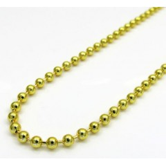 Yellow Gold Plated Brass Bead Chain 32 Inch 2.5mm