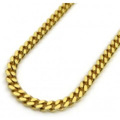 14k Yellow Gold Skinny Tight Link Miami Chain 20-24 Inch 1.8mm
