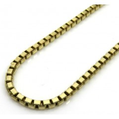 14k Solid Yellow Gold Bevel Cut Box Chain 20-22 Inch 2mm