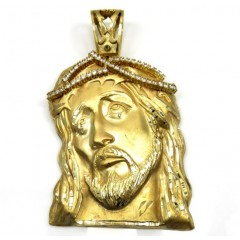 10k Yellow Gold Xl Jesus Face Solid Back Pendant .50ct