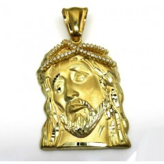 10k Yellow Gold Medium Jesus Face Solid Back Pendant .40ct