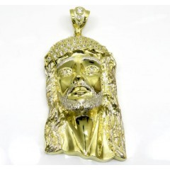 10k Yellow Gold Xl Classic Caged Back Two Tone Jesus Piece Pendant 0.50ct