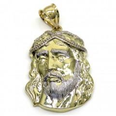 10k Yellow Gold Side Face Large Jesus Pendant