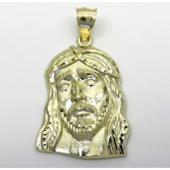 10k Yellow Gold Medium Long Face Jesus Pendant