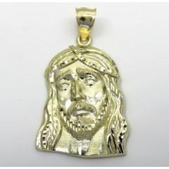10k Yellow Gold Medium Long Face Jesus Pendant