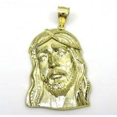 10k Yellow Gold Large Long Face Jesus Pendant