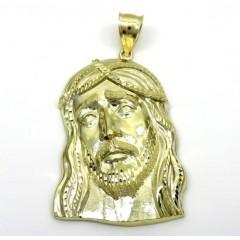 10k Yellow Gold Large Long Face Jesus Pendant