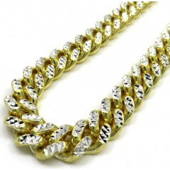 925 Yellow Sterling Silver Two Sided Diamond Cut Miami Chain 32-36 Inch 10.5mm