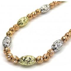 14k Tri Color Diamond Cut Bead Oval Chain 16-30 Inch 4mm