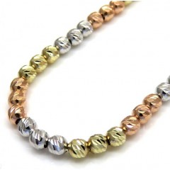 14k Tri Color Gold Diamond Cut Bead Oval Chain 16-20 Inch 2.3mm