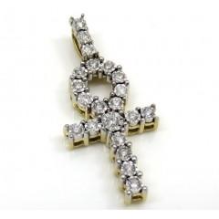 10k Yellow Gold Diamond Mini Ankh Cross 0.26ct