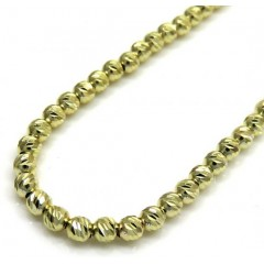 14k Yellow Gold Diamond Cut Bead Chain 16-24 Inch 2.4mm