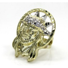10k Two Tone Large Diamond Cut Halo Jesus Ring