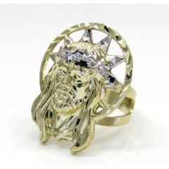 10k Two Tone Medium Diamond Cut Halo Jesus Ring