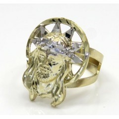10k Two Tone Small Diamond Cut Halo Jesus Ring