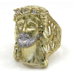 10k Yellow Gold Two Tone Cz Long Face Jesus Ring 0.15ct