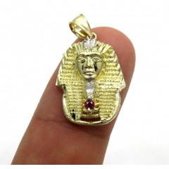 10k Yellow Gold Cz Small King Tut Pharaoh Head Pendant 0.05ct