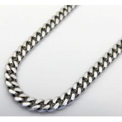 14k White Gold Skinny Tight Link Miami Chain 24 Inch 2.80mm
