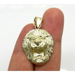 10k Yellow Gold Medium 3d Lion Head Pendant