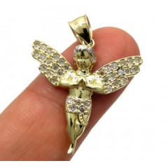 10k Yellow Gold Small Cz Praying Baby Cherub Angel Pendant 1.00ct