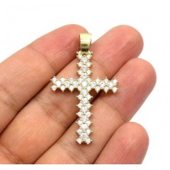 10k Yellow Gold Medium Round Prong Cz Cross 4.30ct