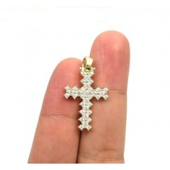 10k Yellow Gold Small Round Prong Cz Cross 3.00ct