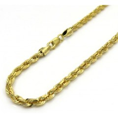 14k Yellow Gold Solid Diamond Cut Rope Bracelet 8.50 Inch 3mm