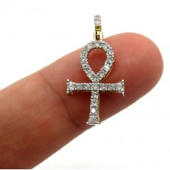 10k Yellow Gold Twenty Seven Diamond Short Ankh Cross 0.53ct