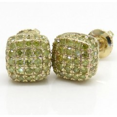 10k Yellow Gold Canary 7 Row Cube Diamond Earrings 0.55ct
