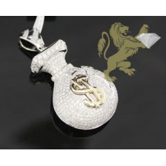 3.25ct 14k White Gold Diamond money Bag Pendant