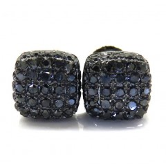 10k Black Gold Black Diamond 5 Row Cube Earrings 0.50ct