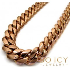 10k Rose Gold Miami Chain 30 Inch 11.5mm Wide