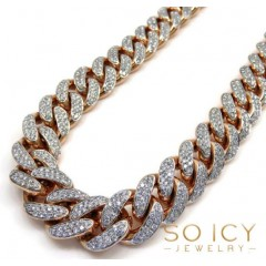 10k Rose Gold Two Sided Diamond Miami Chain 30 Inch 13.8mm