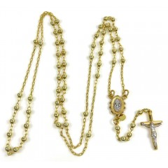 10k Yellow Gold Smooth Bead Super Skinny Rosary Chain 26 Inch 3mm