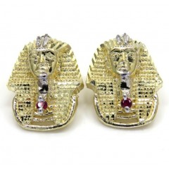 10k Yellow Gold Two Tone Ruby Red Pharaoh Earrings 0.10ct