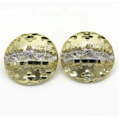 10k Yellow Gold Two Tone Fancy Last Supper Earrings