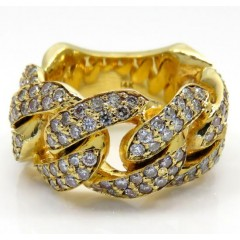 14k Yellow Gold Fancy Diamond Cuban Ring 3.50ct