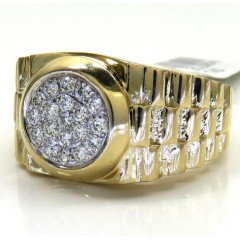 14k Yellow Gold Diamond Double Arch Presidential Ring 0.45ct