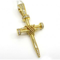 14k Yellow Gold Triple Nail Diamond Cross Pendant 1.00ct