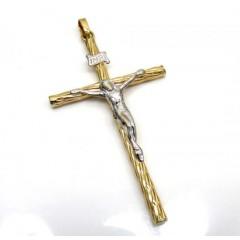 14k Yellow Gold Two Tone Wood Bark Cross