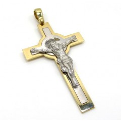 14k Two Tone Double Cross Jesus Pendant